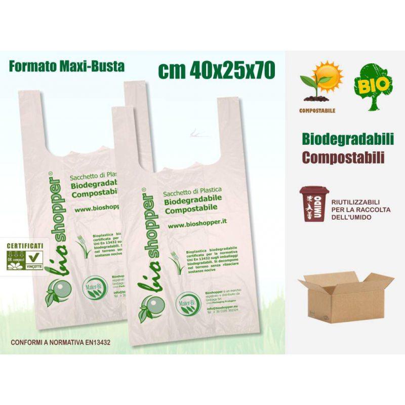 Sakge - Borse shopper biodegradabili compostabili 40x25x70