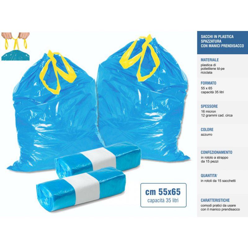 Sakge - Sacchetti spazzatura con manici 55x65 32 litri
