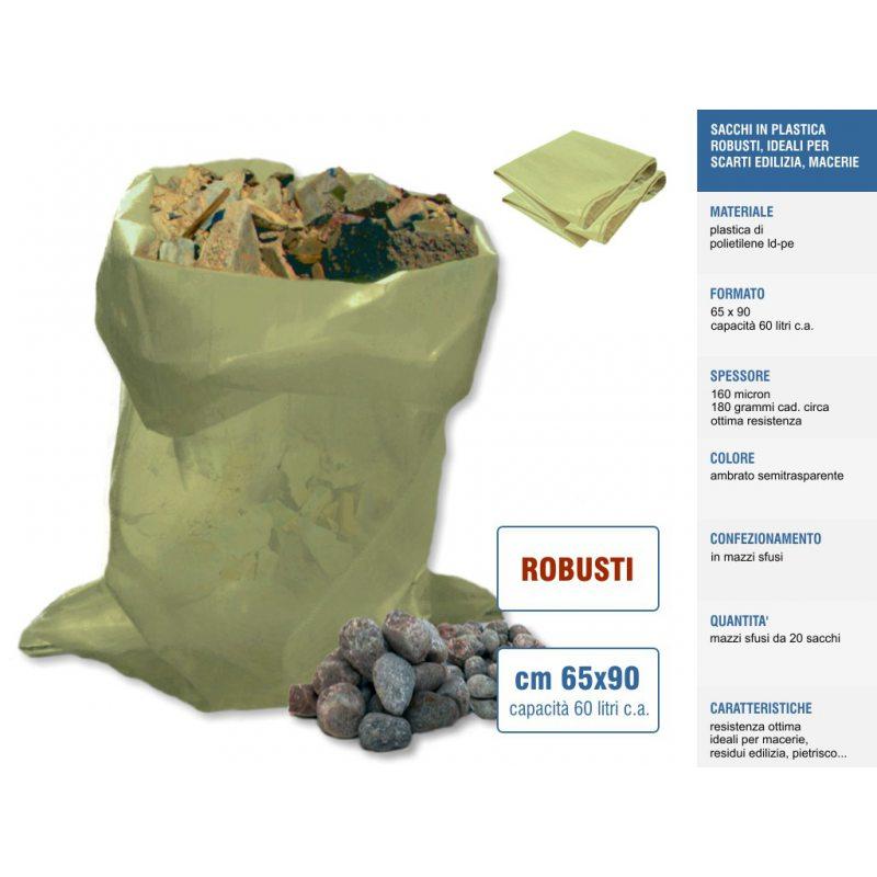 Sakge - Sacchi per macerie polietilene cm 65x90 sacchi robusti