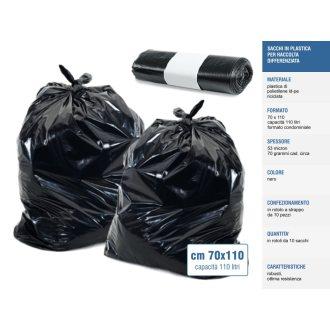 Sakge - Sacchi neri raccolta differenziata cm70x110 110 litri