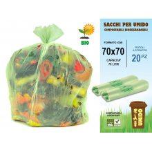 Sacchi raccolta umido cm 70x70 da 70 litri in rotoli da 20 pezzi compostabili