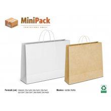 50 pezzi Shopper di carta Avana o Bianca cm 46x16x49 manici corda