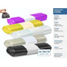 Sacchi raccolta differenziata cm 70x110 110 litri, rotoli da 10pz - Colori Nero